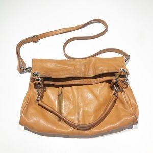 Valentina Italian Leather Fold Over Shoulder Bag